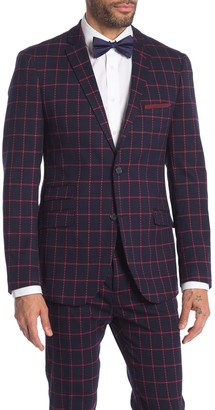 Paisley & Gray Dover Navy Red Grid Print Two Button Notch Lapel Suit Separates Jacket