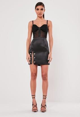 Missguided Black Bar Trim Satin Mini Skirt