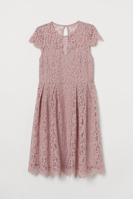 H&M H&M+ Calf-length Lace Dress - Pink
