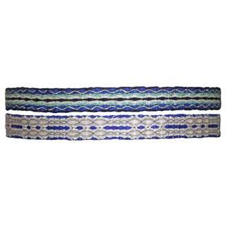 LeJu London Set of Two Handwoven Bracelets in Blue & Silver Tones