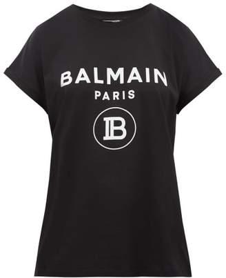 Balmain Flocked Logo Cotton T Shirt - Womens - Black White