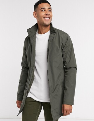 French Connection lined funnel mac jacket in khaki