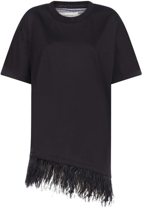 Marques Almeida MarquesAlmeida Feather-embellished Cotton Tee-dress