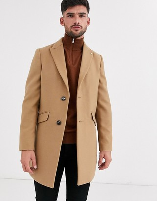 Burton Menswear faux wool overcoat in camel-Tan