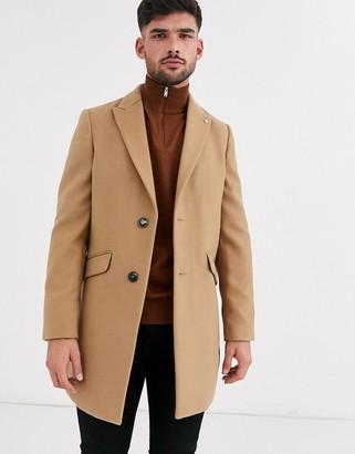 Burton Menswear faux wool overcoat in camel