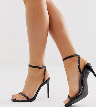 Barely There Asos Design ASOS DESIGN Wide Fit Nova heeled sandals in black