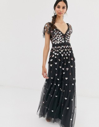 Needle & Thread love heart maxi dress in black