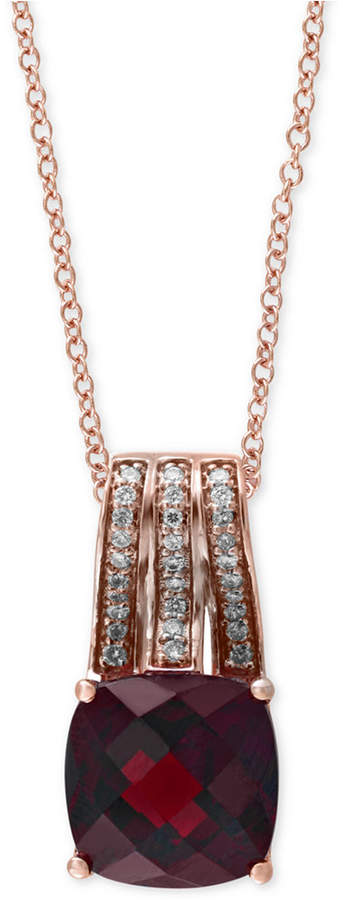 """Effy Bordeaux by Garnet (3-1/2 ct. t.w.) and Diamond (1/10 ct. t.w.) 18"""" Pendant Necklace in 14k Rose Gold"""