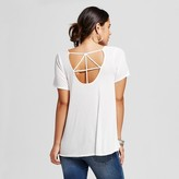 Women's Lattice Back Ribbed Knit Tee - Soul Cake(Juniors')