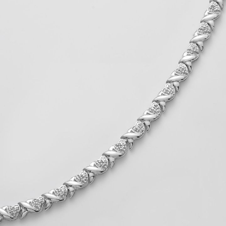 Xo Rhodium plate 1/4-ct. t.w. diamond heart bracelet