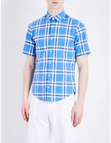 HUGO BOSS Checked short-sleeved cotton shirt