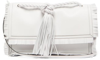 Valentino Fringed Leather Crossbody Bag - Womens - White