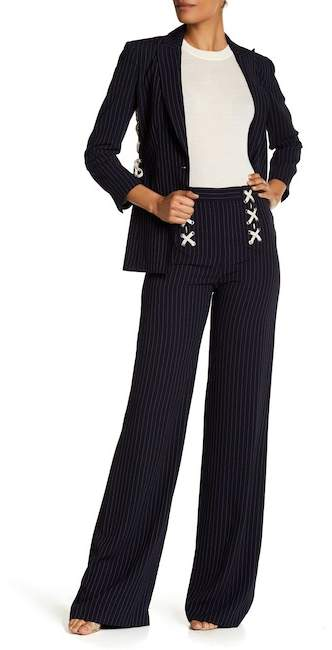 Veronica Beard Quinn Lace-Up Wide Leg Pants