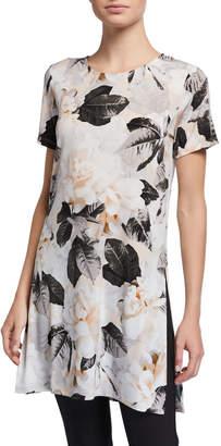 Calvin Klein Floral Short-Sleeve Long Tunic