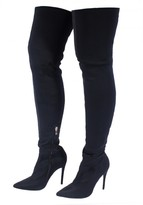 AX Paris Black Stiletto Thigh-High Boots