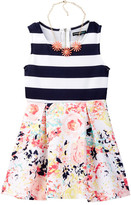My Michelle mymichelle Striped Top & Floral Bottom Scuba Dress with Necklace (Big Girls)