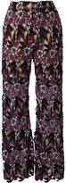 Self-Portrait floral macrame trousers - women - Polyester/Polyamide/Spandex/Elastane - 8