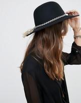 Brixton Wide Brim Felt Hat with Tassle Band in Black