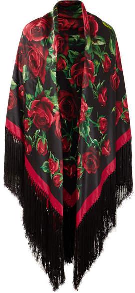 Dolce & Gabbana Fringed Floral-print Silk-satin Wrap - Red