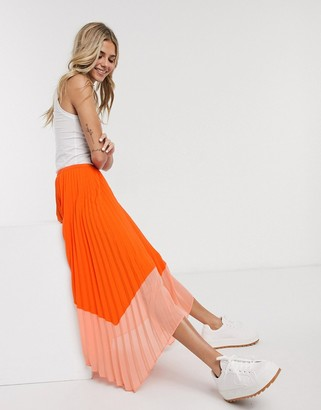 French Connection two tone pleated midi skirt in neon orange