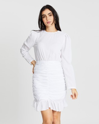 boohoo Crinkle Ruched Detail Lace Sleeve Mini Dress