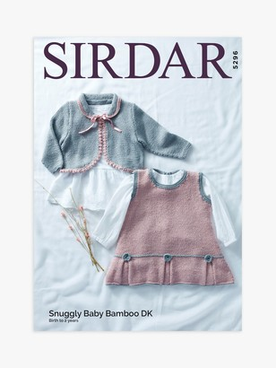 Sirdar Snuggly Bamboo DK Baby Dress and Cardigan Knitting Pattern, 5296