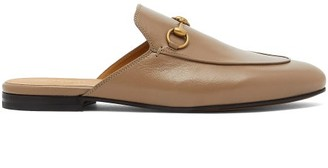 Gucci Princetown Leather Backless Loafers - Beige