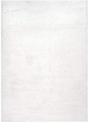 "nuLoom Soft and Plush Cloudy Solid Shag Rug, Snow White, 3'3""x5'"