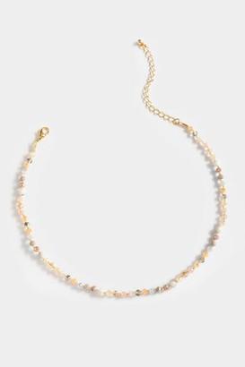 francesca's Sonyah Beaded Rosary Necklace - Gray