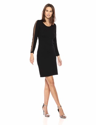Calvin Klein Women's Sweater Dress with Lace Inset On Sleeves