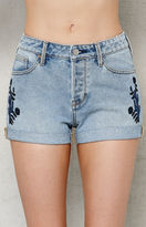 PacSun Ashburry Embroidered Cuffed Denim Girlfriend Shorts
