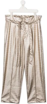 Mariuccia Milano Kids TEEN metallic-tone wide-leg trousers