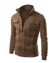 Sun Lorence Men Lightweight Solid Slim Jackets Zipper Stand Collar Sweatshirts L