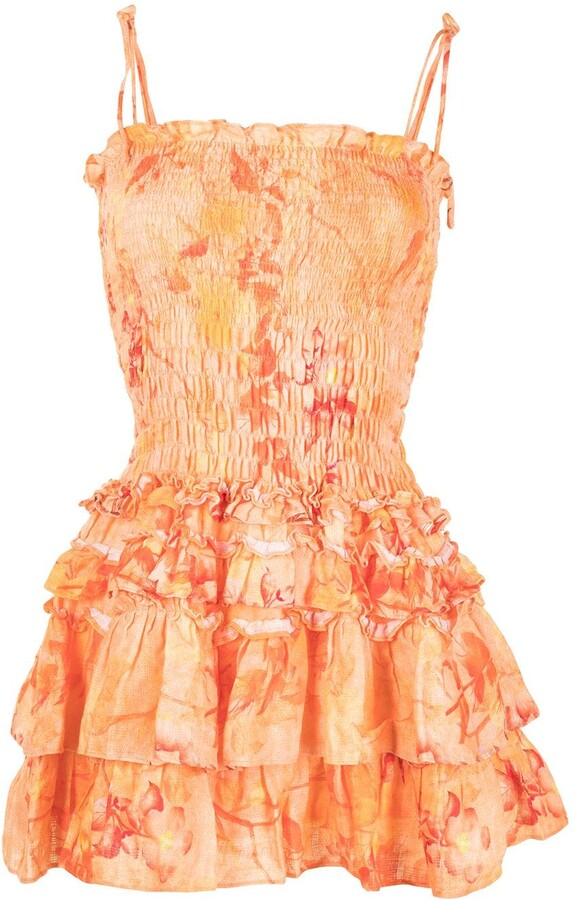 Thumbnail for your product : Bambah Floral-Print Smocked Linen Dress