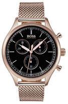 Boss Companion Chronograph Carnation Gold IP Mesh Bracelet Watch