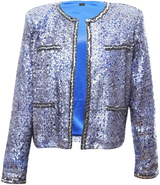 L2r The Label Sequins Over Mesh Jacket In Silver