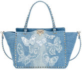 Valentino Rockstud Medium Butterfly Washed Denim Tote Bag, Light Denim