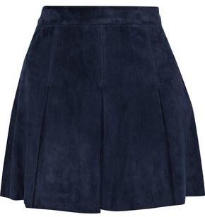 Alice + Olivia Lee Pleated Suede Mini Skirt