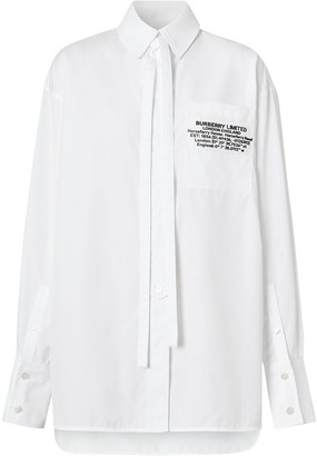 Burberry Location Print Oversized Shirt