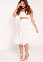 Missguided Crochet Lace Full Midi Skirt White