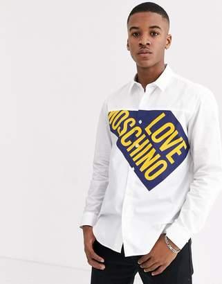 Love Moschino logo long sleeve shirt-White