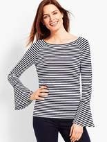 Talbots On-The-Shoulder Flared Sleeve Top - Stripe