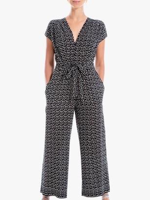 Max Studio Spot Print Cap Sleeve Jumpsuit, Black