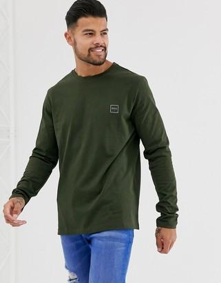 BOSS Tacks small logo long sleeve t-shirt in khaki-Green