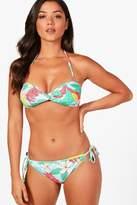 boohoo Costa Rica Tropical Print Twist Bandeau Bikini