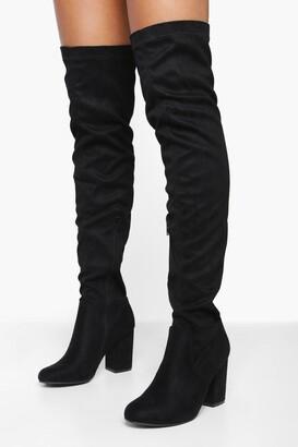boohoo Eloise Block Heel Thigh High Boots