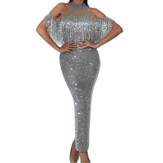 Rifuli Women Sexy Halter Shining Mesh Hollow Out Cold Shoulder Tassel Split Evening Maxi Dress Silver