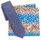 Original Penguin Five-Piece Lapel Pins, Floral Handkerchief and Patterned Tie Set