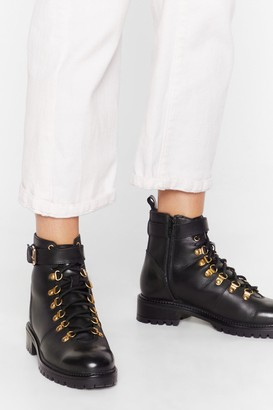 Nasty Gal Womens D-ring 'Em Out Leather Hiker Boots - Black
