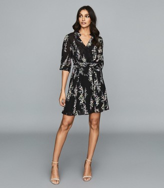 Reiss Peonia - Floral Printed Mini Dress in Multi